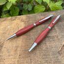MUKU屋 2Pice木製ボールペンとシャープペンシルのセット ピンクアイボリー材 艶消し仕上げ ギフトボックス入り