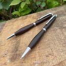 MUKU屋 2Pice木製ボールペンとシャープペンシルのセット ハカランダ 艶消し仕上げ ギフトボックス入り