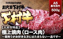 【大府市特産】A5黒毛和牛『下村牛』極上焼肉(ロース肉)500g