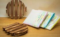 紀州の香りセット(紀州杉材鍋敷き・きなり布巾セット)