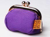 【紫色】帆布がま口小物入れ
