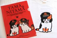 たま駅長Tシャツ<L>・たまニタマクリアファイルセット