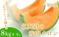 旭川発!北海道の赤肉メロン8kg(4~6玉)