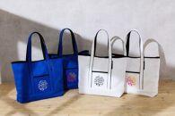 """「育てる」鞄 日本の伝統生地""""刺子""""を使った洗えるママバッグ小 青×白"""