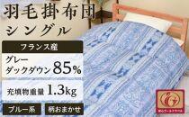 フランス産羽毛グレーダックダウン85%(1.3kg)使用 羽毛掛布団シングル(ブルー系/柄お任せ)