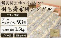 フランス産羽毛グレーダックダウン93%(1.5kg)使用 超長綿生地ツインキルト羽毛掛布団シングル(ブルー系/柄お任せ)