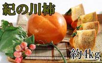 【希少】紀の川柿約4kg(種無し・黒あま柿)秀選品【2021年10月中旬以降発送】