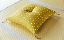 天然繊維 手作り 木綿わた入り 座布団(からしドット柄)