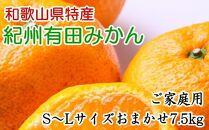 紀州有田みかん7.5kgご家庭用(S~Lサイズおまかせ)