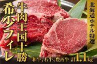 十勝産牛フィレ肉三種(十勝和牛、十勝若牛、豊西牛)食べ比べセット北海道ホテル特製マデラソース付き