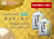 【定期便】秋田市雄和産あきたこまち清流米(無洗米)半年分(10kg×6か月)