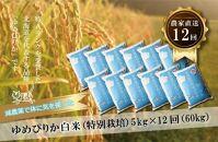 【定期発送】農家直送!減農薬米の定期便【ゆめぴりか 白米5kg×12回】