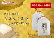 【定期便】秋田市雄和産あきたこまち清流米・1年間(4kg×12か月)