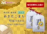 【定期便】秋田市雄和産あきたこまち清流米(無洗米)半年間(4kg×6か月)