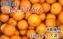 【産直】下津早生みかん10kgご家庭用向け(サイズ混合)