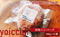 北島豚100%使用!ヨイッチーニ旨味ハンバーグ200g×10個〈ヨイッチーニ〉