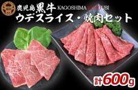 JA鹿児島黒牛ウデスライス・焼肉セット(計600g)【M-2101】