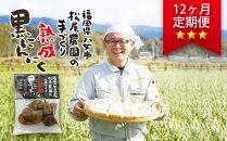 【12ヶ月定期便】<農薬不使用>八女八片黒にんにく(30g×8袋)メロンの3.5倍の甘さで臭わない!