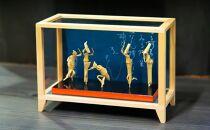 阿波踊り竹人形5人立ガラスケース入り本藍染和紙使用