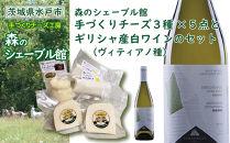 森のシェーブル館手づくりチーズ3種(5点)とギリシャ産白ワイン(ヴィディアノ種)のセット
