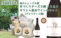 森のシェーブル館手づくりチーズ3種(5点)とギリシャ産白ワイン(アシリティコ種)のセット