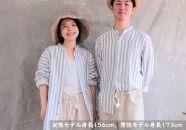 スタンドカラーオーガニックコットン100%ダブルガーゼ・ユニセックスシャツ Lサイズ/細いストライプ