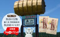 【令和二年産】定期便(5㎏×2袋×12ヶ月)魚沼の宝物 嘉六米特別栽培米魚沼産コシヒカリ