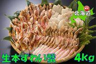 【2社合同】大容量!生冷凍ズワイガニの詰め合わせ 4kg(北海道・ロシア産)