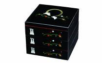 三段重箱黒満月うさぎお重紀州漆器