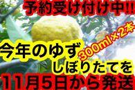 【訳あり】ゆずしぼり(無塩)300cc×2本