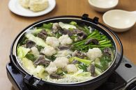 日本海牧場のホルモン鍋(塩味)ホルモン、牛すじ、塩だし、九条ネギ、麺2玉付