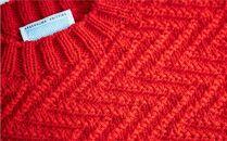 ≪赤≫【気仙沼ニッティング】手編みセーター「エチュード」Sサイズ(女性標準サイズ)