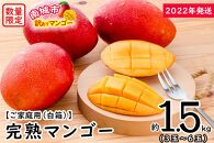 【2022年発送】<訳あり・ご家庭用>完熟アップルマンゴー約1.5kg(白箱)3玉~6玉