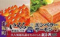 ※2021年9月末までにお届け※大人気★「いくら醤油漬(鮭卵)」×「エンペラーサーモン」の親子丼セット