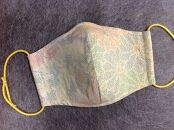 塩沢紬マスク(Lサイズ)柄:菊・紅葉紋様 生成地200処多色(朱・藍・山吹・緑)目色十字絣