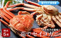 内子外子が美味!茹でセイコガニ(セコ蟹、香箱ガニ、コッペ)特大サイズ5匹セット