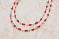 【宝石珊瑚】赤珊瑚とパールの2連ロングネックレス