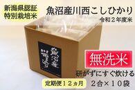 【定期便/全12回】無洗米 魚沼産こしひかり2合×10袋 新潟県認証特別栽培米 令和2年度米