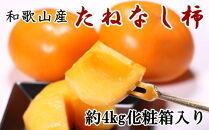【先行予約】【秋の味覚】和歌山産のたねなし柿3L・4Lサイズ約4kg(化粧箱入り)