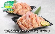 <宮崎県産若鶏ささみ 1kg×5パック>
