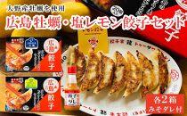【大野産牡蠣を使用】牡蠣餃子2箱(40粒)広島県産レモン使用 塩レモン餃子2箱(40粒)レモン風味みそだれ付