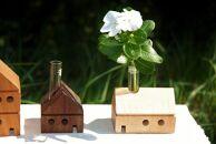 天然木材のHouse一輪挿し(3個セット)
