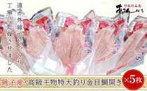 銚子産・高級干物特大釣り金目鯛開き5枚詰め合わせ