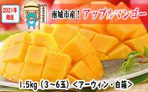 【2021年発送】アップルマンゴー1.5kg(白箱)3玉~6玉