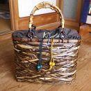 西条産の竹を使った黒竹ヤチャラ編み竹バッグ