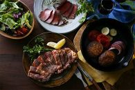 <頒布会>豊西牛厚切ロースステーキ用2枚セット+豊西牛ローストビーフ&ハンバーグギフト