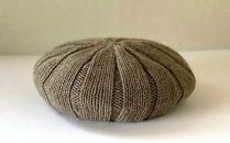 Pureカシミヤのニットベレー帽(ベージュ)