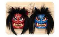 【ポイント交換専用】木彫りなまはげ面板付き(7号サイズ赤青)