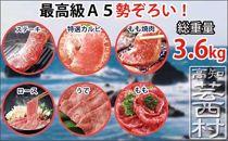土佐和牛A5満喫セット3.6kg「黒潮」ステーキ焼肉すきやきしゃぶしゃぶ<高知市共通返礼品>