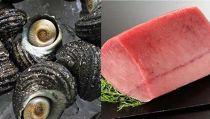 大分県産天然活サザエ約1Kg&国産天然マグロの赤身約1Kgセット 急速冷凍して水揚げ直後の新鮮なままお届けします